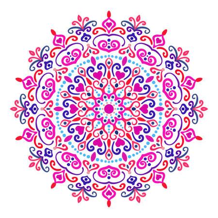 Colorful mandala  design element on white background. Illustration