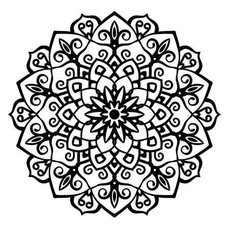 Mandala Vector Design Element. Round ornament decoration. Line flower pattern. Stylized floral motif. Chakra symbol for meditation yoga logo. Complex flourish weave medallion. Tattoo print