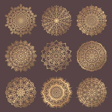 Mandala Vector Design Element. Round ornament decoration. Line flower pattern. Stylized floral motif. Chakra symbol for meditation yoga logo. Complex flourish weave medallion. Tattoo prints collection 일러스트