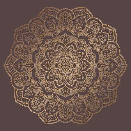 Mandala Vector Design Element. Golden round ornament decoration. Line flower pattern. Stylized floral motif. Chakra symbol for meditation yoga logo. Complex flourish weave medallion. Tattoo print