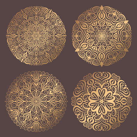 Mandala Vector Design Element. Golden round ornaments. Decorative flower pattern. Stylized floral chakra symbol for meditation yoga logo. Complex flourish weave medallion. Tattoo prints collection