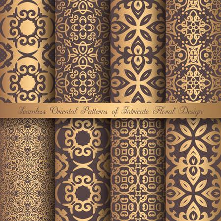 Golden Arabesque Patterns vector illustration.