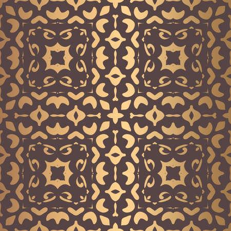 Vector arabesque pattern. Seamless flourish mandala background with golden floral elements.