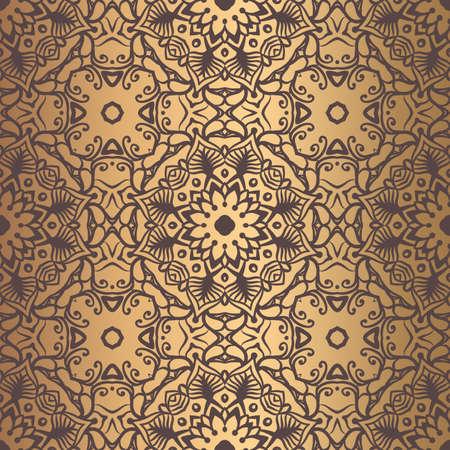 벡터 당초 무늬. 황금 꽃 요소와 원활한 번성 만다라 배경입니다. 스톡 콘텐츠 - 100840711