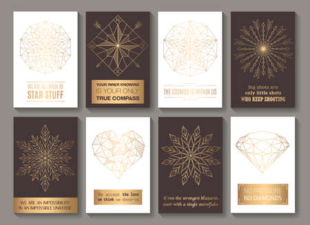 Motivational cards golden Vectores