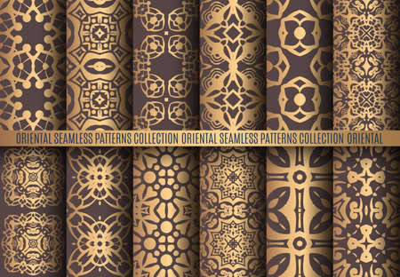 Vector arabesque patterns. Seamless flourish backgrounds. Golden abstract flower floral design elements. Intricate ornate lines. Arabic decorative ornament. Square tile oriental capsule collection 일러스트