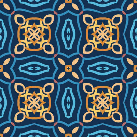 Blue pattern. Seamless weave background. Intricate oriental decoration. Elegant abstract flower design element. Floral curvy square tile. Yellow, golden and brown colors. Luxury wallpaper, floor cover