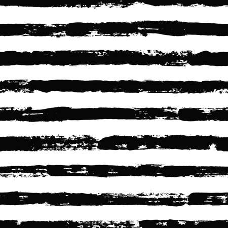 Striped pattern. Seamless irregular hand drawn background. Grunge painted lines. Distress texture. Vector graphic print. Illustration
