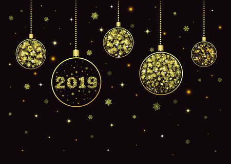 Vector New Year background 2019. Golden Christmas balls with beads hanging with snowflakes, stars and sparkles decoration. Merry Christmas greeting card. Luxury design. Shiny glitter elements. Ilustracja