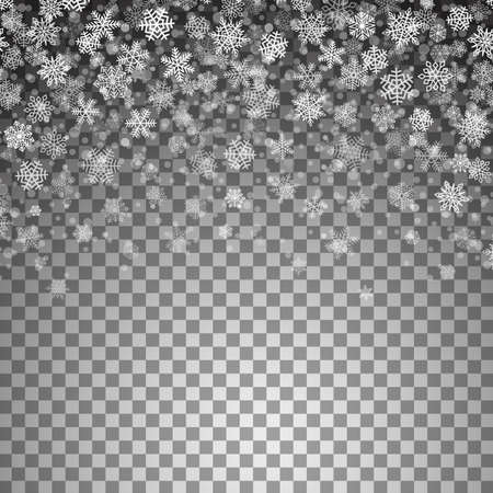 Vector snowflakes falling on transparent background. Christmas template for banners, flyers, posters, website decoration. Design element for Happy New Year card, winter sale. Holiday illustration.