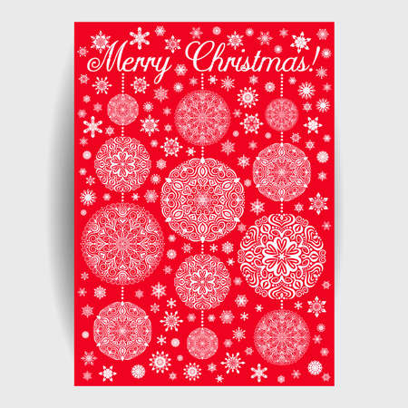 Christmas Card with Mandala Snowflakes on Red Background. Garlands from Christmas balls with beads. Intricate flourish design elements. 5 to 7 ratio. Oriental motif illustration for print.