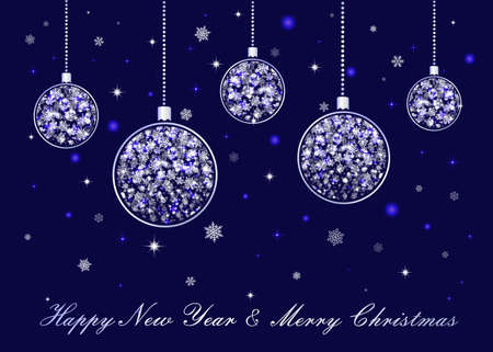 Vector Christmas balls with beads hanging on dark blue background. Silver Happy New Year and Merry Christmas greeting card luxury design. Shiny sparkling falling snowflakes. Stars and glitter elements