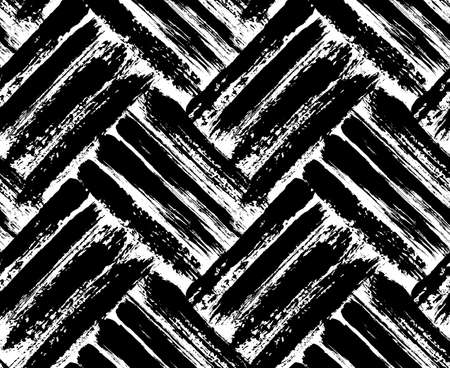 Painted chevron pattern. Seamless brush stroke lines. Sketchy hand drawn graphic print. Black and White background. Grungy decoration. Vector design. Wallpaper, furniture fabric, textile.