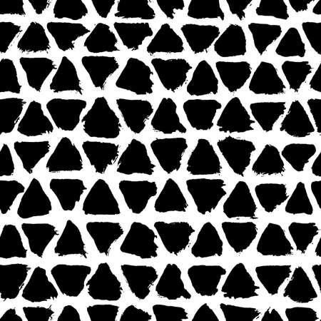 Brush strokes background from triangles. Grunge seamless pattern. Sketchy hand drawn graphic print. Black and White background. Grungy decoration. Vector design. Distress texture