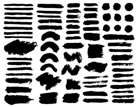 Brush strokes. Vector paintbrush set. Round grunge design elements. Long text boxes. Dirty texture banners. Ink splatters. Diagonal painted objects. Ilustracja