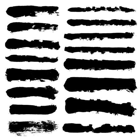 Pinselstriche. Vektor-Pinsel-Set. Grunge-Design-Elemente. Lange Textfelder. Schmutzige Distress-Textur-Banner. Tintenspritzer. Grungy bemalte Objekte. Vektorgrafik