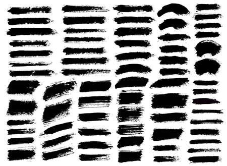 Pinceladas. Conjunto de pincel de vector. Elementos de diseño grunge. Cuadros de texto largos. Banners de textura de angustia sucia. Salpicaduras de tinta. Objetos pintados sucios.
