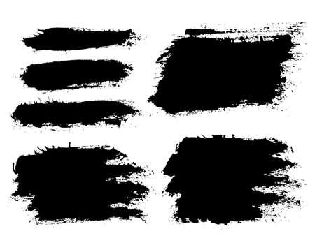 Pinceladas. Conjunto de pincel de vector. Elementos de diseño grunge. Cuadros de texto largos. Banners de textura sucia. Salpicaduras de tinta. Objetos pintados. Ilustración de vector