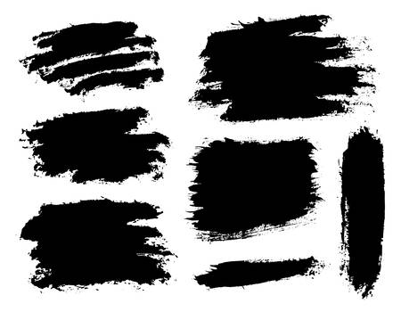 Brush strokes. Vector paintbrush set. Grunge design elements. Long text boxes. Dirty texture banners. Ink splatters. Painted objects.