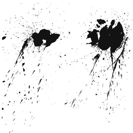 Paint splats blotches isolated on white background. Abstract grunge design elements of distress texture. Vector blots Illustration