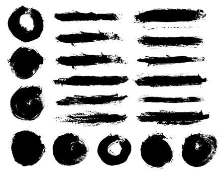 Brush strokes. Vector paintbrush set. Round grunge design elements. Long text boxes. Circle dirty texture banners. Ink splatters. Painted objects.
