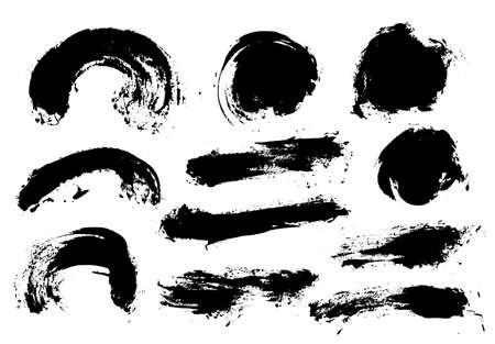 Pinselstriche. Vektor-Pinsel-Set. Runde Grunge-Design-Elemente. Lange Textfelder. Schmutzige Textur-Banner. Tintenspritzer. Bemalte Objekte.