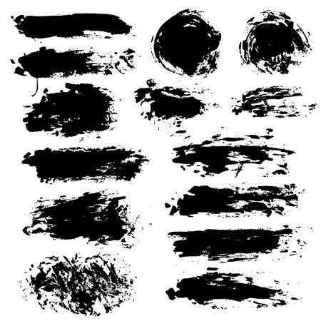 Pinceladas. Conjunto de pincel de vector. Pinte las manchas de las salpicaduras. Elementos de diseño de grunge redondo. Cuadros de texto largos. Círculo de banderas de textura sucia. Salpicaduras de tinta. Objetos pintados con textura. Manchas con gotas Ilustración de vector