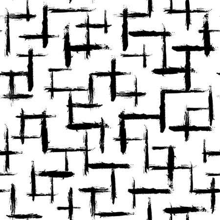 Patrón de trazos de pincel irregular. Dibujado a mano sin fisuras líneas pintadas. Impresión de gráficos vectoriales. Fondo de arte