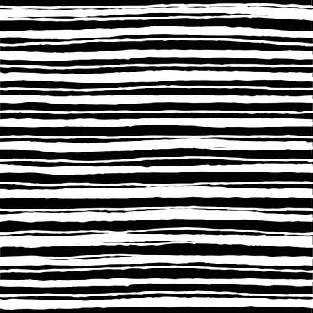 Irregular striped brush strokes pattern. Seamless hand drawn lines painted elements. Vector graphic print. Stripes art background