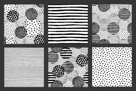 Painted Patterns Hand Drawn Backgrounds Dots Stripes