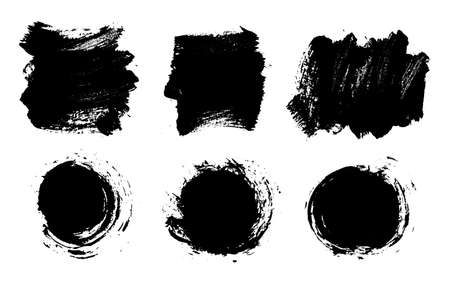 Brush strokes. Vector paintbrush set. Grunge design elements. Rectangle round text boxes. Dirty distress texture banners. Ink splatters. Grungy painted burst. Messy speech bubbles