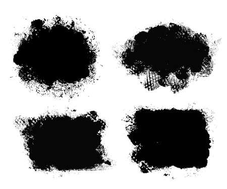 Brush strokes. Vector paintbrush set. Grunge design elements. Rectangle round text boxes. Dirty distress texture banners. Ink splatters. Grungy painted burst. Fabric imprint. Textile cloth material