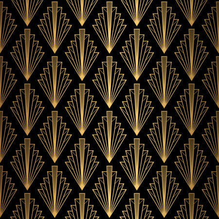 Art Deco-patroon. Naadloze zwarte en gouden achtergrond.