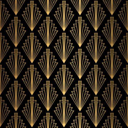 Wzór w stylu art deco. Bezszwowe tło czarne i złote.