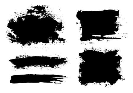 Brush strokes. Vector paintbrush set. Grunge design elements.