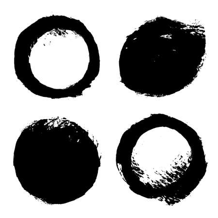 Brush strokes rounds. Vector paintbrush set. Circle banners.