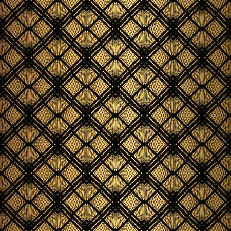 Art Deco Pattern. Seamless black and gold background. Metallic shells or scales lace ornament. Minimalistic geometric design. Vector lines. 1920-30s motifs. Luxury vintage illustration