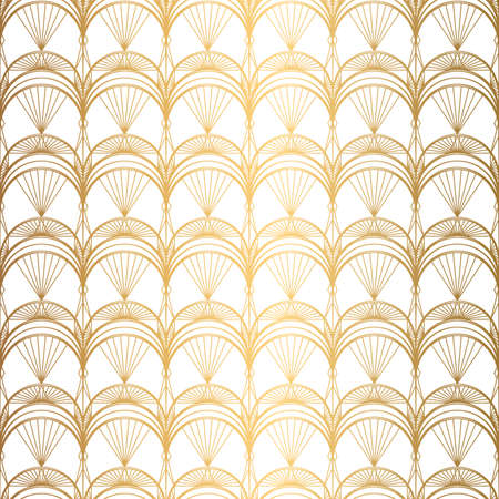 Art Deco Pattern. Seamless white and gold background. Metallic shells or scales lace ornament. Minimalistic geometric design. Vector lines. 1920-30s motifs. Luxury vintage illustration
