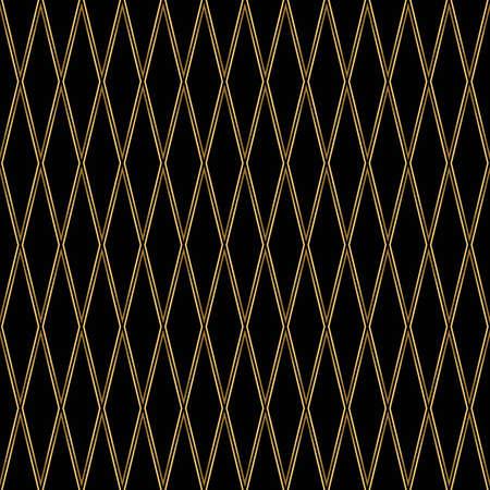 Diamond pattern motif. Seamless gold and black background
