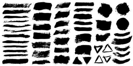 Tratti di pennello. Set di pennelli vettoriali. Elementi di disegno del grunge. Caselle di testo rettangolari o fumetti. Insegne sporche di struttura di afflizione. Schizzi di inchiostro. Fumetti dipinti Grungy.