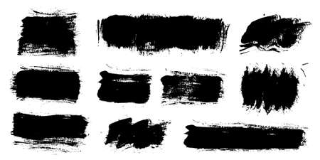 Brush strokes. Vector paintbrushes set. Grunge design elements. Rectangle text boxes or speech bubbles. Dirty distress texture banners. Ink splatters. Grungy painted speech bubbles.
