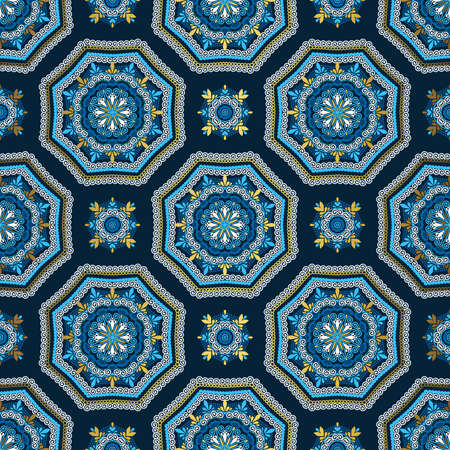 Golden and blue background. Luxury oriental seamless pattern