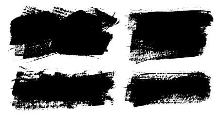 Brush strokes. Vector paintbrushes set. Grunge design elements. Rectangle text boxes, round speech bubbles. Dirty distress texture banners. Ink splatters. Grungy painted bursts.