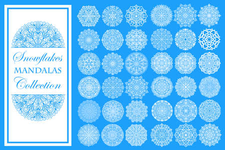 Snowflakes vector illustration. Isolated design elements for Christmas card, Happy New Year greeting. Intricate oriental mandala ornament. Round patterns.