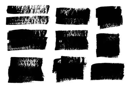Brush strokes. Vector paintbrushes set. Grunge design elements. Rectangle text boxes or speech bubbles. Dirty distress texture banners. Ink splatters. Grungy painted objects.
