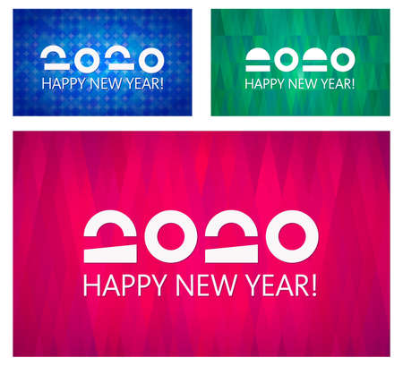 Happy New Year vector 2020. Collection of banner templates. Abstract backgrounds, geometric patterns. Simple and elegant greeting cards design. Original, unusual date. 일러스트