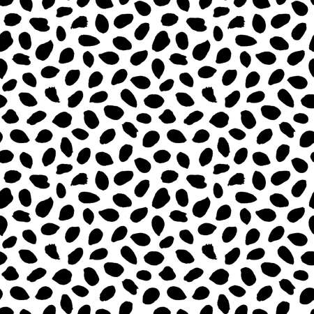 Dots or spots pattern. Seamless texture background. Trendy irregular design. Painted brush strokes drops. Chaotic hand drawn tile. Abstract art fashionable fabric. Vector black and white textile.