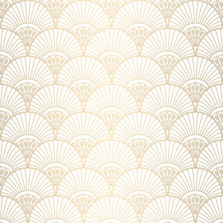 Art Deco pattern. Seamless white and gold background. Wedding decoration