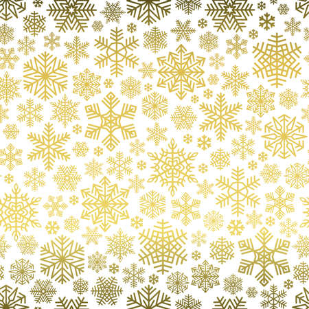 Snowflakes Pattern Seamless on White Background. Golden snow falling