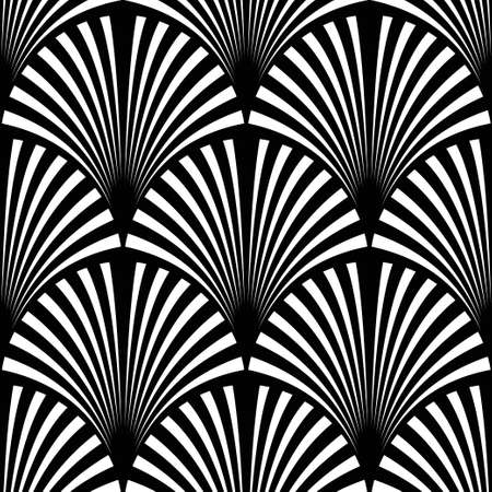 Art Deco pattern. Vector black white background. Luxury seamless ornament. Roaring twenties motif  イラスト・ベクター素材
